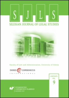 Silesian Journal of Legal Studies : Contents Vol. 9