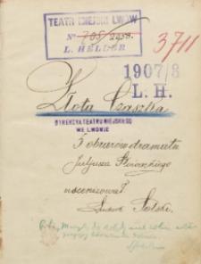 Złota Czaszka. 5 obrazów dramatu Juliusza Słowackiego uscenizował Ludwik Solski