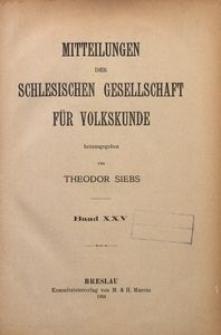 Mitteilungen der Schlesischen Gesellschaft für Volkskunde, Bd. 25 (1924)