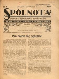 Spólnota. Pismo Tygodniowe Spożywców, 1926, R. 6, No 45