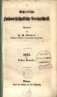 Schlesische Landwirthschaftliche Vereinsschrift, 1855, Jg. 2, H. 1