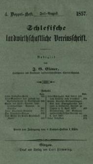 Schlesische Landwirthschaftliche Vereinsschrift, 1857, Jg. 4, H. 4