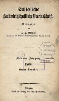 Schlesische Landwirthschaftliche Vereinsschrift, 1860, Jg. 7, [H. 1]