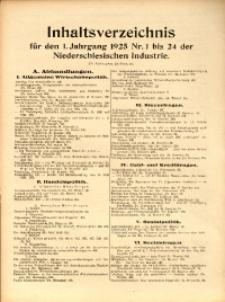 Inhaltsverzeichnis für den 1. Jahrgang 1925 Nr. 1 bis 24 der Niederschlesischen Industrie