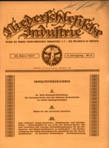 Niederschlesische Industrie, 1927, Jg. 3, Nr. 6