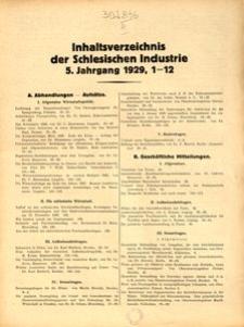 Inhaltsverzeichnis der Schlesischen Industrie, 5. Jahrgang 1929, Nr. 1–12