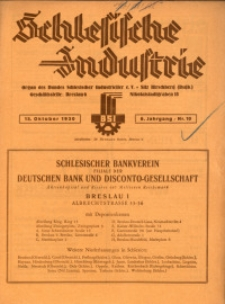 Schlesische Industrie, 1930, Jg. 6, Nr. 10