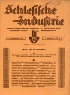 Schlesische Industrie, 1931, Jg. 7, Nr. 9