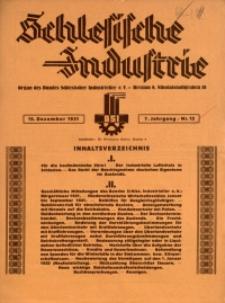 Schlesische Industrie, 1931, Jg. 7, Nr. 12
