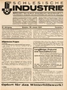 Schlesische Industrie, 1934, Jg. 10, Nr. 1
