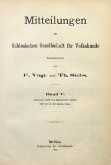 Mitteilungen der Schlesischen Gesellschaft für Volkskunde, 1902/1903, Bd. 5, Inhalt
