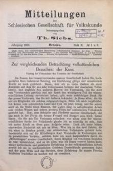Mitteilungen der Schlesischen Gesellschaft für Volkskunde, 1902/1903, Bd. 5, H. 10, No 1/2