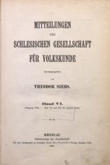 Mitteilungen der Schlesischen Gesellschaft für Volkskunde, 1904, Bd. 6, Inhalt