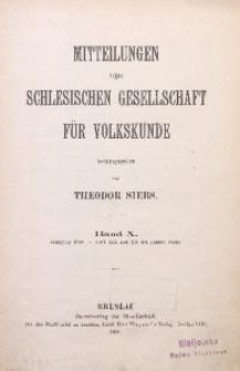Mitteilungen der Schlesischen Gesellschaft für Volkskunde, 1908, Bd. 10, Inhalt