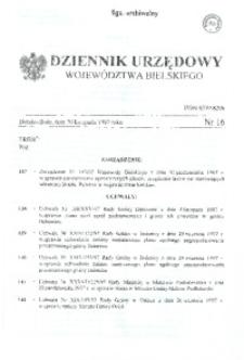 Dziennik Urzędowy Województwa Bielskiego, 1997, nr 16