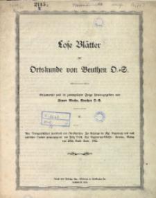 Lose Blätter zur Ortskunde von Beuthen O.-S. Folge 5