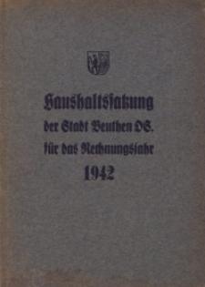 Haushaltssatzung der Stadt Beuthen OS. für das Rechnungsjahr 1942