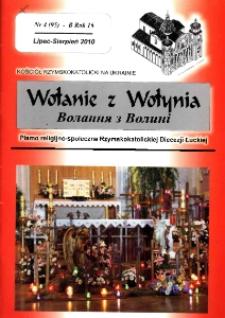 Wołanie z Wołynia : pismo religijno-społeczne Rzymskokatolickiej Diecezji Łuckiej (B). R. 16, nr 4 (95).