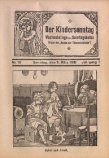 Der Kindersonntag, 1931, Jg. 7, Nr. 10