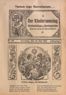 Der Kindersonntag, 1931, Jg. 7, Nr. 22