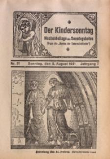 Der Kindersonntag, 1931, Jg. 7, Nr. 31