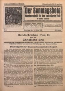 Der Sonntagsbote. Wochenschrift für das katholische Volk der Diözese Schlesien, 1931, Jg. 7, Nr. 9