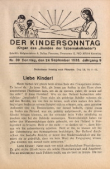 Der Kindersonntag, 1933, Jg. 9, Nr. 39