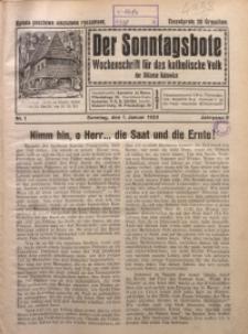 Der Sonntagsbote. Wochenschrift für das katholische Volk der Diözese Katowice, 1933, Jg. 9, Nr. 1