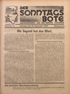 Der Sonntagsbote. Wochenschrift für das katholische Volk der Diözese Katowice, 1934, Jg. 10, Nr. 37
