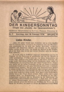 Der Kindersonntag, 1934, Jg. 10, Nr. 7