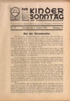 Der Kindersonntag, 1934, Jg. 10, Nr. 31