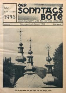 Der Sonntagsbote. Wochenschrift für das Bistum Katowice, 1936, Jg. 12, Nr. 1