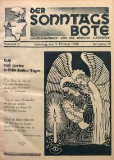 Der Sonntagsbote. Wochenschrift für das Bistum Katowice, 1936, Jg. 12, Nr. 5