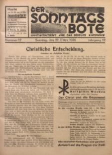 Der Sonntagsbote. Wochenschrift für das Bistum Katowice, 1936, Jg. 12, Nr. 12