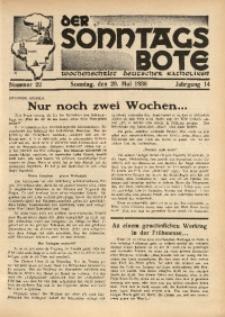 Der Sonntagsbote. Wochenschrift deutscher Katholiken, 1938, Jg. 14, Nr. 22