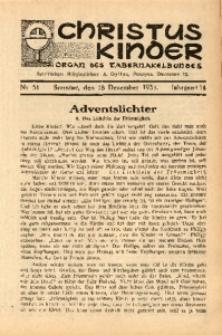 Christus Kinder, 1938, Jg. 14, Nr. 51