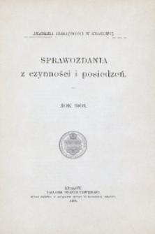 Sprawozdania z Czynności i Posiedzeń Akademii Umiejętności w Krakowie, 1903, T. 8, Spis rzeczy
