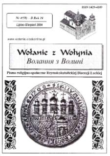 Wołanie z Wołynia : pismo religijno-społeczne Rzymskokatolickiej Diecezji Łuckiej (B). R. 10, nr 4 (59).