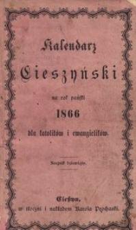 Kalendarz Cieszyński na Rok 1866 dla Katolików i Ewangelików