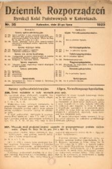 Dziennik Rozporządzeń Dyrekcji Kolei Państwowych w Katowicach, 1923, Nr. 35