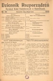 Dziennik Rozporządzeń Dyrekcji Kolei Państwowych w Katowicach, 1923, Nr. 36
