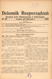Dziennik Rozporządzeń Dyrekcji Kolei Państwowych w Katowicach, 1923, Nr. 59