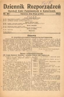 Dziennik Rozporządzeń Dyrekcji Kolei Państwowych w Katowicach, 1923, Nr. 61