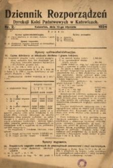 Dziennik Rozporządzeń Dyrekcji Kolei Państwowych w Katowicach, 1924, Nr. 2