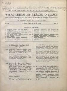 Wykaz Literatury Bieżącej o Śląsku, 1938, R. 4, nr 3
