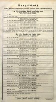 Verzeichniß der am 15. März 1854 nach nicht zur Realisation präsentirten Staats-Schuld-Verschreibungen