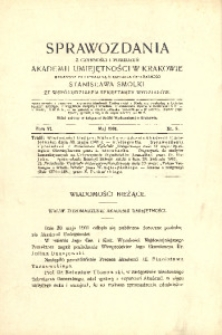 Sprawozdania z Czynności i Posiedzeń Akademii Umiejętności w Krakowie, 1901, T. 6, Nr 5