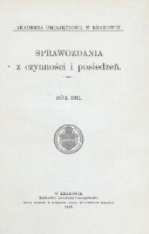 Sprawozdania z Czynności i Posiedzeń Akademii Umiejętności w Krakowie, 1911, T. 16, Spis rzeczy