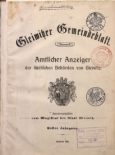 Gleiwitzer Gemeindeblatt, 1910, Inhaltsverzeichnis des ersten Jahrgangs (Nr. 1-55)
