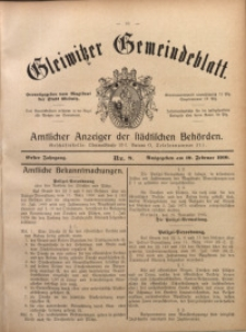 Gleiwitzer Gemeindeblatt, 1910, Jg. 1, Nr 8